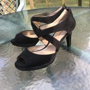 "Like New ""Flora"" Heels with Fun Zipper Detailing"